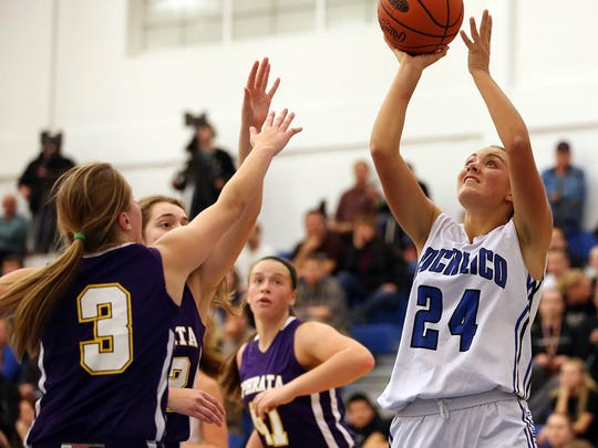 Cocalico's Lyndsay Engle (24) takes a shot against Ephrata during first half action at Cocalico High School Wednesday December 9, 2015. Cocalico won, 55-30.