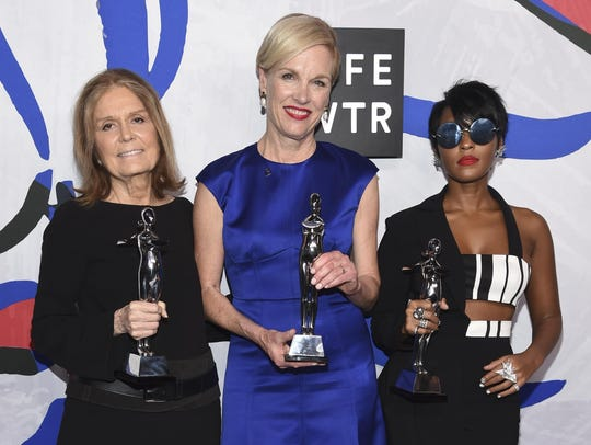 Gloria Steinem, from left, Cecile Richards and Janelle
