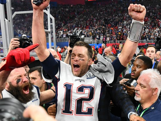Feb 3, 2019; Atlanta, GA, USA; New England Patriots quarterback Tom Brady (12) reacts after Super Bowl LIII against the Los Angeles Rams at Mercedes-Benz Stadium. Mandatory Credit: Robert Deutsch-USA TODAY Sports