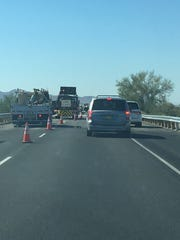 Road work forced westbound Interstate 10 drivers onto the shoulder Friday. They moved slow while a fatal collision affected eastbound traffic.