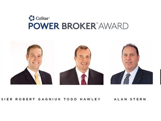 Commercial brokers recognized included (from left) Glenn DesRosiers, Robert Gagniuk, Todd Hawley, Alan Stern and Rich Deptula.