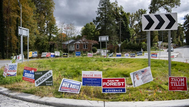 Political signs for Madison Cawthorn and More  Davis, along with other candidates, line a roundabout on the Greenville Highway in Hendersonville on Oct. 12, 2020.