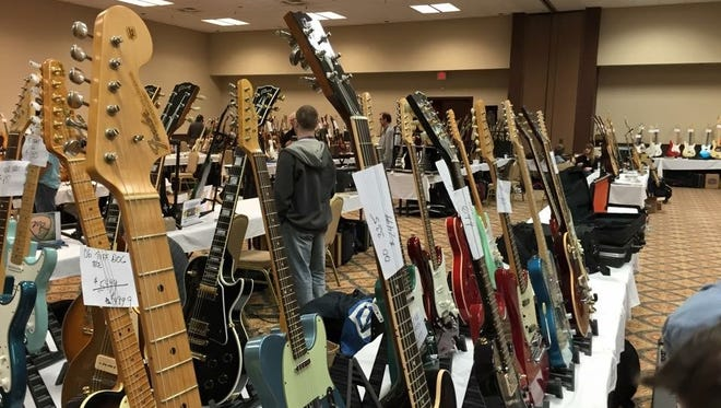 Visitors to the Indiana Guitar Show will find hundreds of stringed instruments, as well as a wide array of other musical merchandise. Vendors also will be purchasing instruments and other musical equipment.