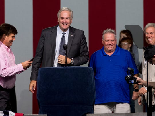 Luther Strange laughs as he does his sound check for the evening's Luther Strange Senate Rally with Donald Trump at the Von Braun Center in Huntsville, Ala. on Friday September 22, 2017.