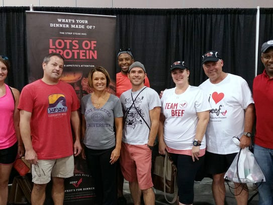 Team Beef members gathered at the beef booth the day