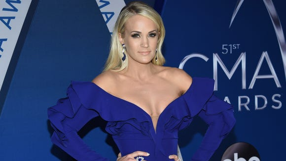 Carrie Underwood arrives at the CMA Awards on Nov.
