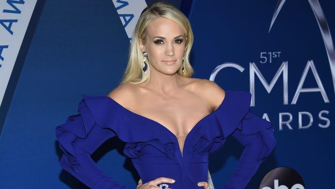 Carrie Underwood arrives at the CMA Awards on Nov. 8, 2017 in Nashville.