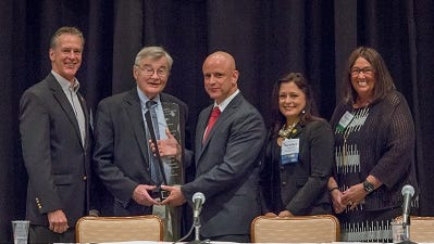 The New Jersey Association of Counties has named its Business Associate of the Year award after Somerset County Freeholder Director Peter Palmer. From left: NJAC Immediate Past President and Hunterdon County Freeholder John King, Freeholder Palmer, NJAC Executive Director John Donnadio, NJAC President and Gloucester County Freeholder Heather Simmons, and NJAC Secretary/Treasurer and Hunterdon County Clerk Mary Melfi.