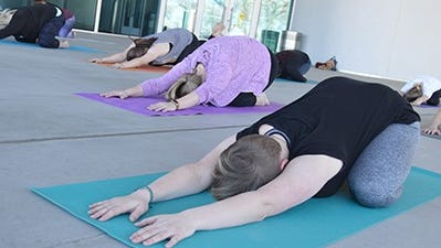 Art lovers enjoy a yoga class at the Southern Utah Museum of Art.