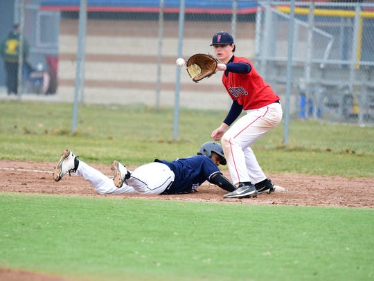 Livonia Franklin first baseman Jon Montie catches a