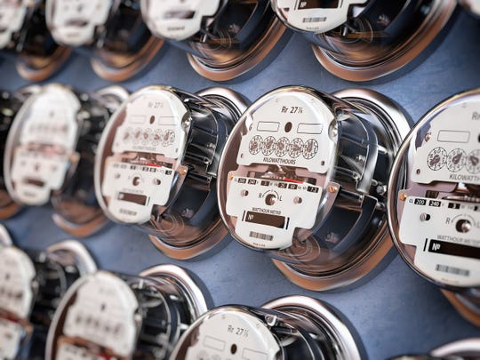 A bank of electricity meters.