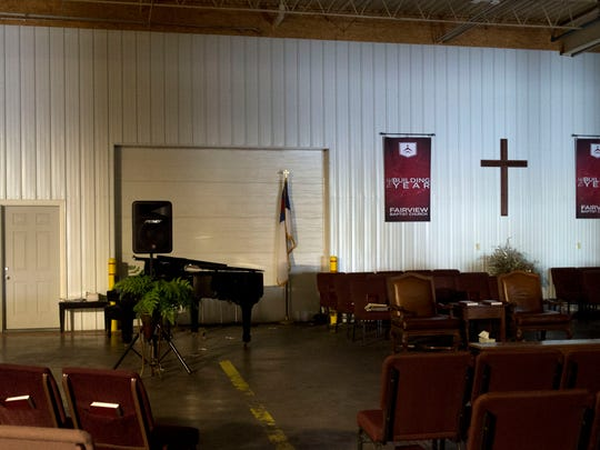 Fairview Baptist Church has set up a temporary home at the American Bedding building after a tornado damaged the church and destroyed several of the church's buildings.
