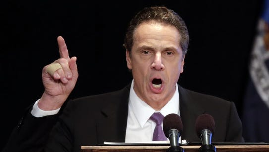 Gov. Andrew Cuomo, shown Jan. 13 as he delivers his