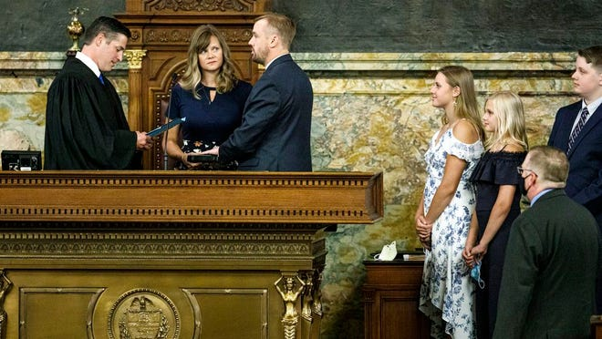 State Rep. Bryan Cutler, a Republican from Lancaster County, was sworn in by Washington County Judge Brandon Neuman after being elected speaker of the Pennsylvania House of Representatives on Monday. Cutler was joined his wife Jennifer, and his children, Cheyanne, Drew and Caleb. He fills a post vacated last week by Mike Turzai, who resigned his House seat to take a job in the private sector.