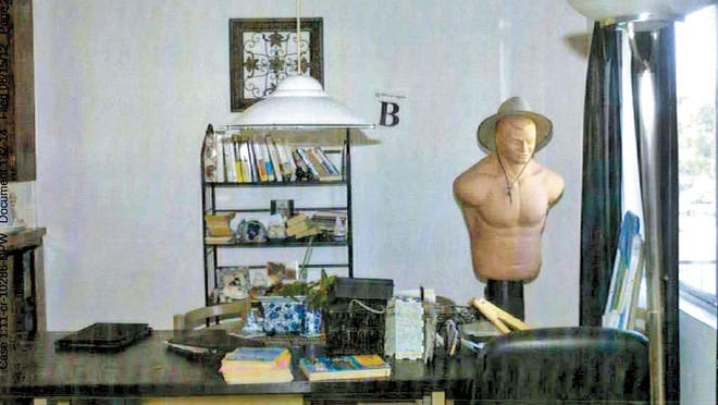 Whitey's living room in Santa Monica where he used a punching dummy wearing a fedora as a decoy for anyone who might want to shoot him through the window.