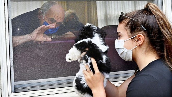 Grace Luiso, 15, of Southborough shares the family's nine-week-old puppy, Quincy with her grandfather, Joe Luiso, 88, through the window at the Carmel Terrace assisted living facility in Framingham on Saturday, May 16.