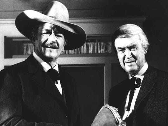 "The 1976 drama ""The Shootist"" would prove to be  the final film for John Wayne (shown with James Stewart, right)."