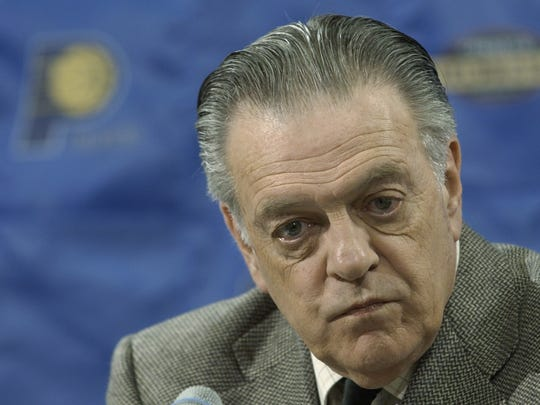 Indiana Pacers team president Donnie Walsh answers questions from the media at a news conference before their game against the Boston Celtics in Indianapolis, Saturday, Feb. 1, 2003. (AP Photo/Darron Cummings)