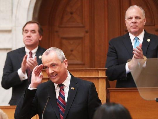 Assembly Speaker Craig Coughlin and Senate President