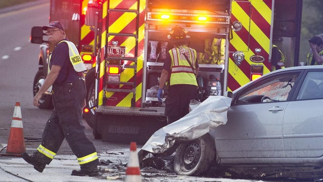 Williston firefighters respond to a car crash July 30, 2015 on Interstate 89.