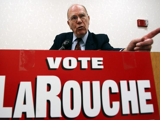 In this May 14, 2004, file photo, Democratic presidential hopeful Lyndon LaRouche Jr. campaigns in Montgomery, Ala. Fitting for a man who saw so much darkness in the world, LaRouche died on the fringes Feb. 12, 2019, his name little known to anyone under 50, his death rumored online a day before mainstream outlets confirmed it. His influence, however, will surely outlast him.