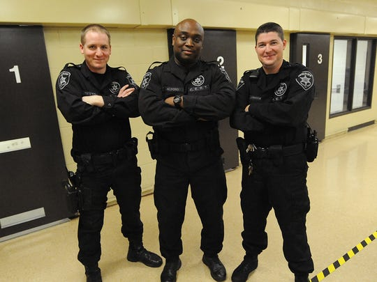 CERT members Deputy Joshua Sexton (left), Deputy Chris Alford and Deputy Brandon Alsabrook pose for a photo at the Bossier Sheriff's Office Maximum Security Facility in Plain Dealing. During emergencies such as hostage situations or riots, they would be the first to respond.