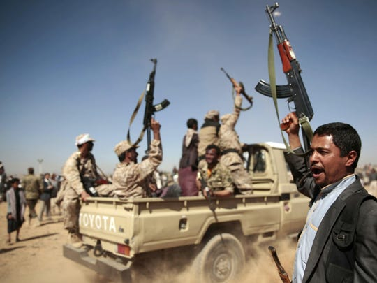 Tribesmen loyal to Houthi rebels chant slogans during a 2017 gathering aimed at mobilizing more fighters into battlefronts to fight pro-government forces in Sanaa, Yemen.
