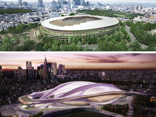 FILE - This combination of artist renderings provided by the Japan Sports Council shows the original design by British-Iraqi architect Zaha Hadid, bottom, of the new stadium for the 2020 Tokyo Olympics selected on Nov. 16, 2012 but was later scrapped due to controversy over its cost and scale, and the newly selected design by Japanese architect Kengo Kuma, chosen and announced by the Japan Sports Council Tuesday, Dec. 22, 2015. Hadid says the Japan Sport Council is withholding money owed for work on the Tokyo 2020 Olympic stadium design while demanding her company give up claims to copyrights. The Sport Council said in a statement read over the phone on Thursday, Jan. 14, 2016 that it was seeking to resolve the issue but would not comment on specifics of the contract with London-based Zaha Hadid Architects, or ZHA. (The Japan Sports Council via AP, File)  MANDATORY CREDIT
