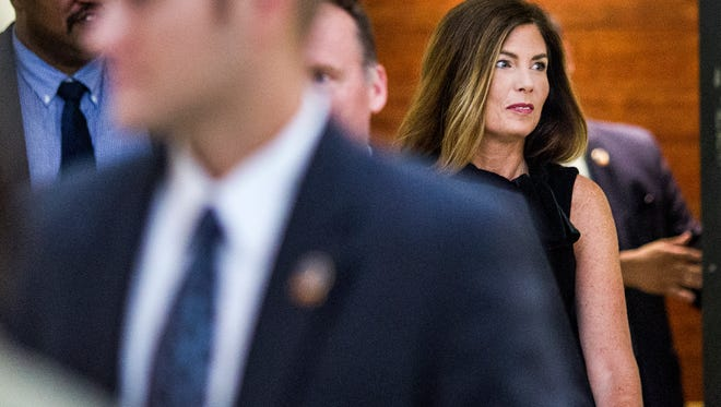 Pennsylvania Attorney General Kathleen Kane arrives for the fifth day of her trial at the Montgomery County Courthouse in Norristown, Pennsylvania, Friday.