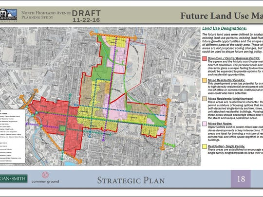 A map of the strategic plan proposed by Ragan Smith Associates for the North Highland Avenue corridor