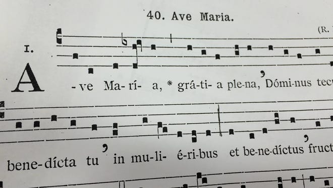"Sheet music for the chants to ""Ave Maria."""