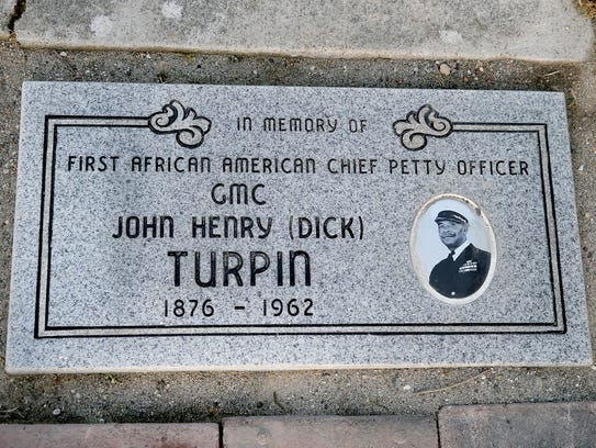 "The new gravesite marker for Chief Gunner's Mate John Henry ""Dick"" Turpin at Ivy Green Cemetery in Bremerton."