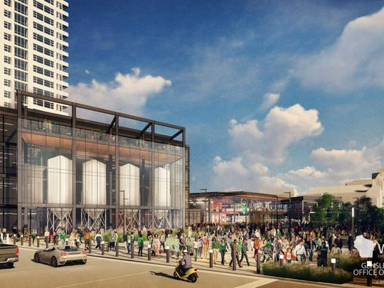 A rendering of a possible craft brewery is seen looking southeast from N. 4th St. and W. Juneau Ave. The brewery could anchor the downtown entertainment center being proposed by the Milwaukee Bucks.