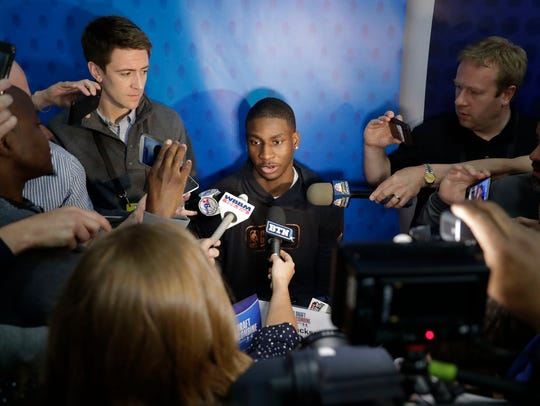 Jaren Jackson Jr. speaks with the media at the NBA draft combine Thursday in Chicago.