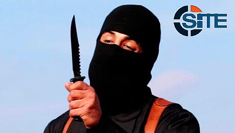 """This image made from militant video, which has been verified by SITE Intel Group and is consistent with other AP reporting, shows Mohammed Emwazi , known as """"Jihadi John,"""" holding a knife."""