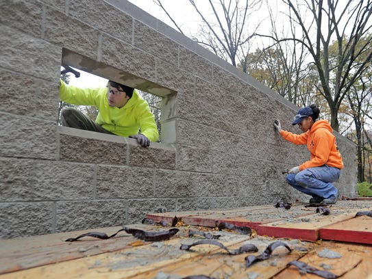 Jye Jude, right, and Brian Galloway, masonry students