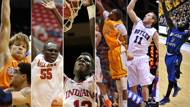 Egidijus Mockevicius of Evansville (from left), Majok Majok of Ball State, Hanner Mosquera-Perea of Indiana, Vashil Fernandez of Valparaiso, Jackson Aldridge of Butler and Manny Arop of Indiana State.