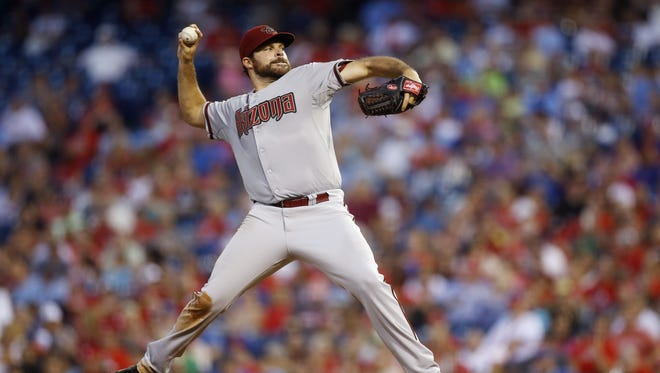Arizona Diamondbacks' Josh Collmenter pitches during the third inning of a baseball game against the Philadelphia Phillies, Saturday, July 26, 2014, in Philadelphia.