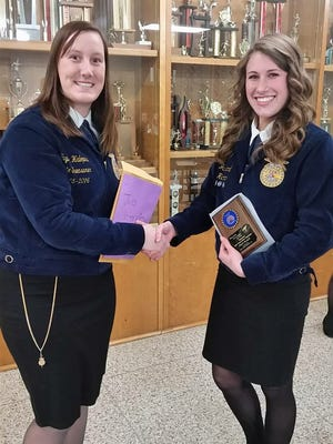 Taylor Halopka Section 7 State FFA Officer and Jaci Brandl Stevens Point FFA Job INterview contest winner.