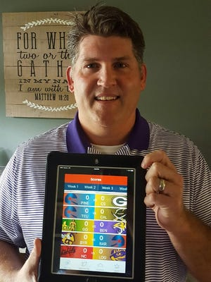 Todd Hable, father of Benton quaterback Garrett Hable, shows The Times prep football app, Friday Night Live, on his tablet.