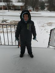 Gabriel Dunn gets ready to attack the snow!