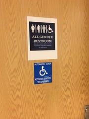 The door to Montclair High School's gender-neutral