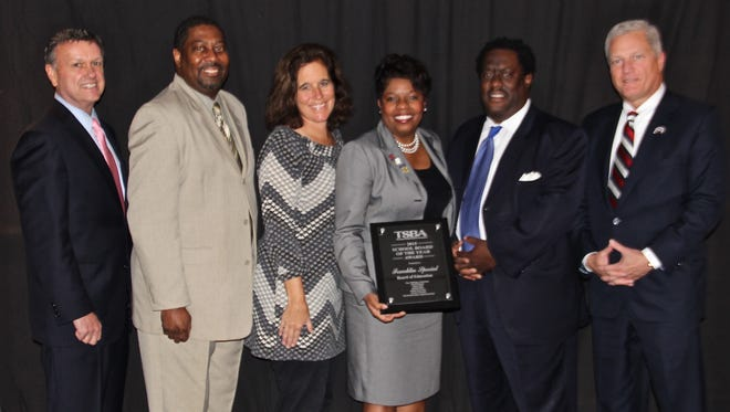 The Franklin Special School District's school board won 2015 board of the year. From left to right: FSSD Director of Schools David Snowden and board members Robert Blair, Robin Newman, Allena Bell, Kevin Townsel, and Tim Stillings. Board member Alicia Barker was not present.