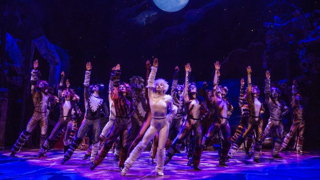 "Emily Tate of Hurricane is performing as Tantomile in the Broadway revival of ""CATS"" that opened Sunday. She is shown in the cast photo as the first cat to the right of the center cat, who is dressed in white."