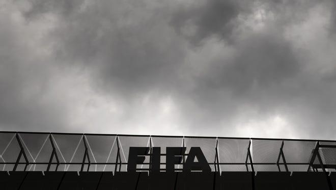 FIFA's logo atop the organization's headquarters in Zurich.