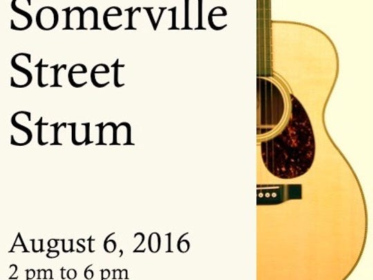 """The """"Somerville Street Strum"""" will be held on Aug. 6 from 2 to 6 p.m. on the Division Street Plaza. The goal is to bring together more than 500 guitar players to all play the same song, """"This Land Is Your Land"""" by Woody Guthrie, at the same time."""
