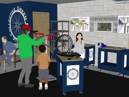 A rendering of what the Green Bay Bicycle Collective's community bike shop will look like after renovations.