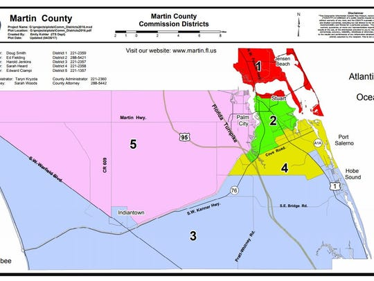 A map of the Martin County Commission districts.