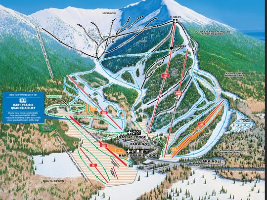 An updated Arizona Snowbowl map with the new chairlift opening this year.