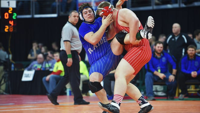 """Chamberlin's Nash Hutmacher wrestles Rapid City Steven's Zechariah Patterson in the Class """"A"""" 285 during the 2018 SDHSAA State Wrestling Championships Saturday, Feb. 23, at the Denny Sanford Premier Center in Sioux Falls."""